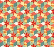 Colorful seamless patchwork pattern. Colorful seamless patchwork pattern with red stars. Vector illustration of quilt. Can be used for wallpapers, textiles Royalty Free Stock Photos