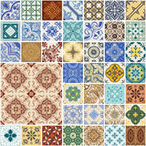 Colorful Seamless Patchwork Pattern. Spain and Moroccan Tiles Set - for wallpaper, design, background, texture, interiours - in vector Stock Photo