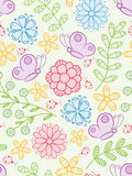 Colorful seamless pattern. With flowers, butterflies and ladybird Stock Images