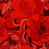 Colorful seamless pattern. With red flowers Stock Photo