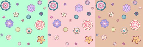 Colorful seamless pattern - abstract flowers. Vector colorful seamless pattern - abstract flowers for your design Royalty Free Stock Image