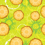 Colorful seamless pattern with abstract slice pineapple, circles and dots. Summer motif for card, textile, banners. Royalty Free Stock Photos