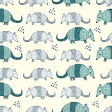Colorful seamless pattern with armadillos Stock Photo