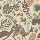 Colorful seamless pattern with australian animals. Decorative aboriginal backdrop. Animals and plants royalty free illustration