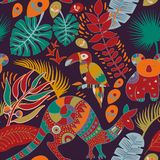 Colorful seamless pattern with australian animals. Decorative aboriginal backdrop. Animals and plants vector illustration
