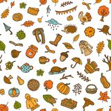 Colorful seamless pattern with autumn fall thanksgiving cute doodle decoration royalty free illustration