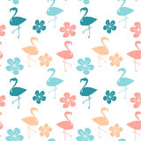 Colorful seamless pattern background illustration with flamingos and hibiscus flowers. Colorful seamless vector pattern background illustration with flamingos Stock Photography