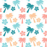 Colorful seamless pattern background illustration with palm trees and hibiscus flowers Stock Photography