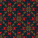 Colorful seamless pattern background with monkeys. Symbol of 2016 year. Red monkey texture with gold floral ornament. Stock Photography