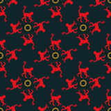Colorful seamless pattern background with monkeys. Stock Image
