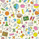 Colorful Seamless Pattern background of school and education icon Stock Images
