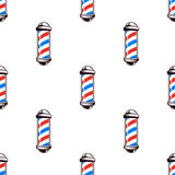 Colorful seamless pattern with barber poles, vintage vector illustration Stock Photography