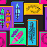 Colorful seamless pattern of bird feathers Royalty Free Stock Photography