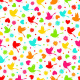 Colorful seamless,pattern of  bird,flower and hearts. On a white background, vector Royalty Free Stock Photos