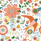 Colorful seamless pattern with birds and blooming Royalty Free Stock Photo