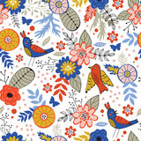 Colorful seamless pattern with birds and blooming Royalty Free Stock Photos
