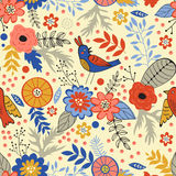 Colorful seamless pattern with birds and blooming. Flowers. Vector illustration Royalty Free Stock Images