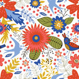 Colorful seamless pattern with birds and blooming Stock Image