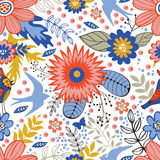 Colorful seamless pattern with birds and blooming Stock Photos