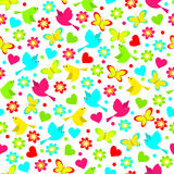 Colorful seamless,pattern of birds, butterfly and flowers. On a white background, vector Royalty Free Stock Images