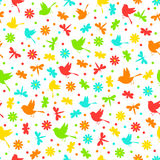 Colorful seamless,pattern of birds, dragonflies, bees flowers Stock Photography