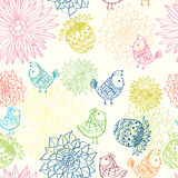 Colorful seamless pattern with birds in flowers Stock Photo