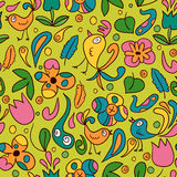Seamless pattern with birds and flowers Royalty Free Stock Photos