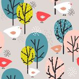 Colorful seamless pattern, birds and trees. Decorative cute background stock illustration