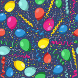 Colorful seamless pattern of birthday party with colors balloons Stock Photos