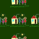 Colorful seamless pattern on blackboard. Colorful seamless  pattern. Green blackboard. Kids drawing style Stock Photo