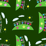 Colorful seamless pattern on blackboard. Colorful seamless  pattern. Green blackboard. Kids drawing style Royalty Free Stock Photography
