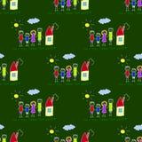 Colorful seamless pattern on blackboard. Colorful seamless  pattern. Green blackboard. Kids drawing style Stock Photography