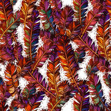 Colorful seamless pattern with bright feathers. Stock Image