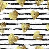 Colorful seamless pattern with brush stroke and hearts. Vector seamless pattern with hearts shape and gorizontal brush stroke in a modern style. Happy Valentines Stock Photo