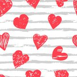 Colorful seamless pattern with brush stroke and hearts. Vector seamless pattern with hearts shape in a modern style. Happy Valentines day illustration. For Stock Photography