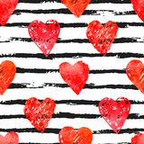 Colorful seamless pattern with brush stroke and hearts. Vector seamless pattern with hearts shape and gorizontal brush stroke in a modern style. Happy Valentines Royalty Free Stock Photos