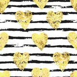 Colorful seamless pattern with brush stroke and hearts. Vector seamless pattern with hearts shape and gorizontal brush stroke in a modern style. Happy Valentines Royalty Free Stock Image