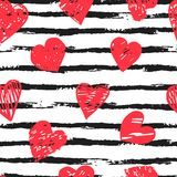 Colorful seamless pattern with brush stroke and hearts. Vector seamless pattern with hearts shape and gorizontal brush stroke in a modern style. Happy Valentines Stock Image