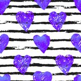 Colorful seamless pattern with brush stroke and hearts. Vector seamless pattern with hearts shape and gorizontal brush stroke in a modern style. Happy Valentines Royalty Free Stock Photo
