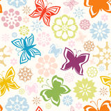 Colorful seamless pattern with  butterflies Stock Photography