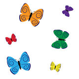 Colorful seamless pattern with butterflies Stock Image