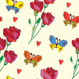 Colorful seamless pattern with butterfly, rose and Stock Photos