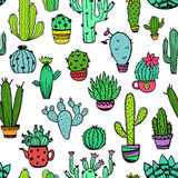 Colorful Seamless Pattern Of Cactus. Royalty Free Stock Photos