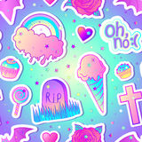 Colorful seamless pattern: candies, sweets, rainbow, icecream, t royalty free illustration