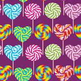 Colorful seamless pattern, candy lollipops, spiral candy cane. Candy on stick Royalty Free Stock Photo