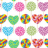 Colorful seamless pattern, candy lollipops, spiral candy cane. Candy on stick with twisted design on white background. Vector Stock Photo