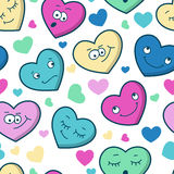 Colorful seamless pattern of cartoon heart emotions. Valentine's Royalty Free Stock Photography