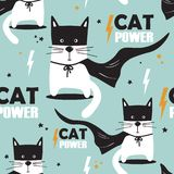 Colorful seamless pattern with cats, stars. Cat power stock illustration