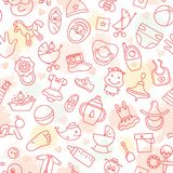 Colorful of seamless pattern of children toys and various children elements in pink. royalty free illustration