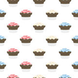 Colorful seamless pattern. Chocolate muffins with glaze and spri Royalty Free Stock Photo